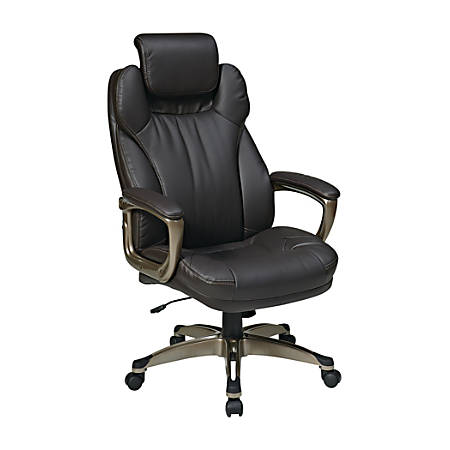 Office Star™ Work Smart Eco Leather High-Back Chair, Espresso/Cocoa