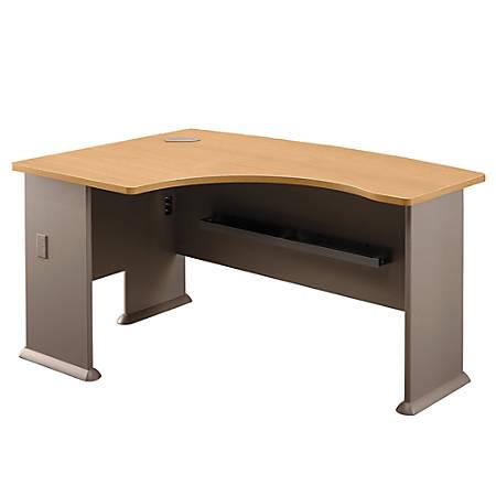 "Bush Business Furniture Office Advantage L Bow Desk Left Handed, 60""W x 44""D, Light Oak/Sage, Premium Installation"