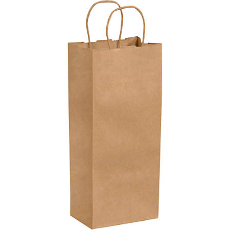 "Partners Brand Paper Shopping Bags, 13""H x 5 1/4""W x 3 1/4""D, Kraft, Case Of 250"