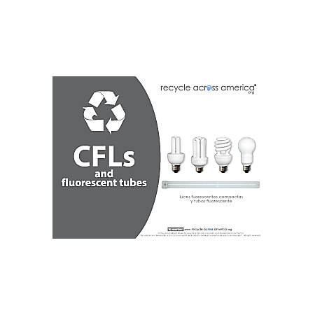 """Recycle Across America CFL Standardized Recycling Labels, CFL-8511, 8 1/2"""" x 11"""", Charcoal"""