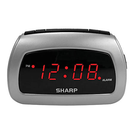 "Sharp® Battery Backup Electric-Powered Digital Alarm Clock, 2 3/4"" x 4 1/4"" x 2"", Black/Silver"