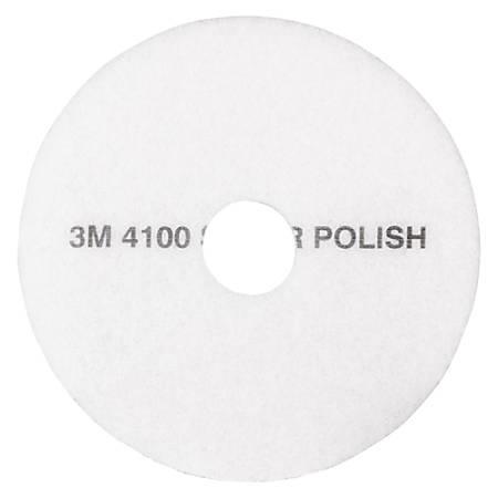 """3M™ 4100 Super Polishing Floor Pads, 12"""" Diameter, White, Case Of 5"""