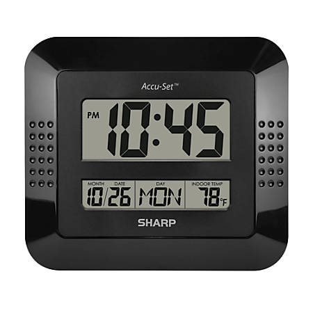"Sharp Digital Auto Time Set Wall Clock, 8"" x 7"", Black"