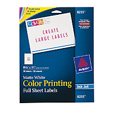 Avery Inkjet Permanent Full Sheet Labels