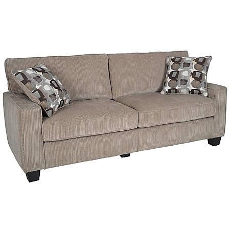 "Serta® RTA Santa Cruz Collection Fabric Sofa, 78""W, Platinum"