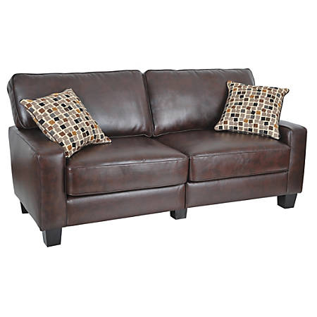 "Serta® RTA Monaco Collection Leather Sofa, 35""H x 72""W x 32 1/2""D, Bonded Leather, Brown"