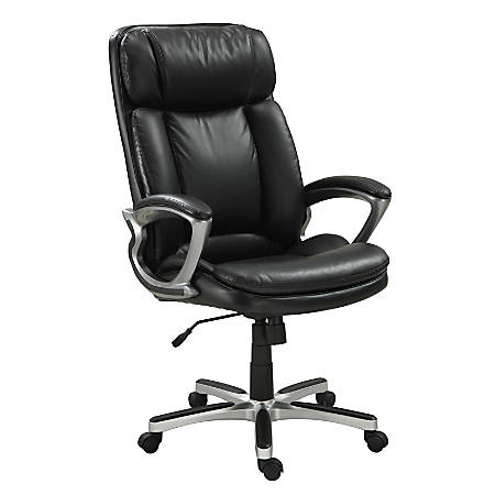Serta® Big And Tall Puresoft® Faux Leather High-Back Chair, Black/Silver