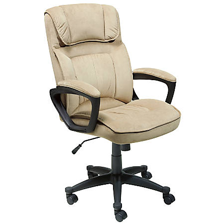 Serta Executive Office Microfiber Mid Back Chair Light Beige Black