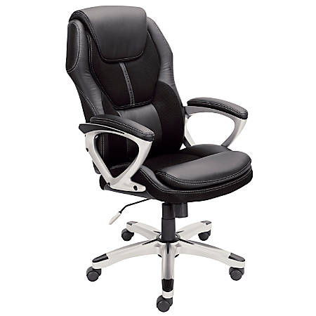 Serta® Puresoft™ Faux Leather And Mesh High-Back Chair, Black/Silver