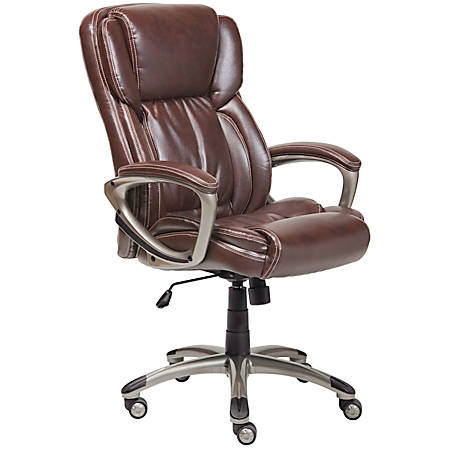 Serta Executive Office Bonded Leather High Back Chair Biscuit Brown Silver