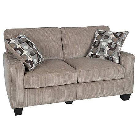 "Serta® RTA Santa Cruz Collection Fabric Loveseat Sofa, 61""W, Platinum"
