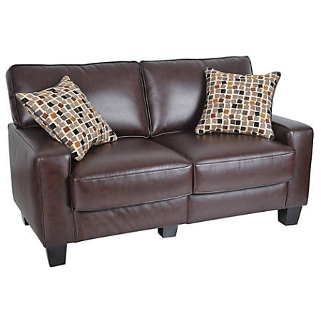 Awe Inspiring Serta Rta Monaco Collection Leather Loveseat Sofa 35H X 60W X 32 1 2D Bonded Leather Brown Item 1851112 Machost Co Dining Chair Design Ideas Machostcouk