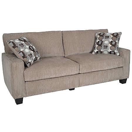 "Serta® RTA Santa Cruz Collection Fabric Sofa, 35""H x x 73""W x 32 1/2""W, Platinum"