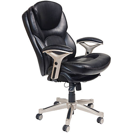 Serta® Back in Motion™ Health And Wellness Mid-Back Office Chair, Bonded Leather, Black/Silver