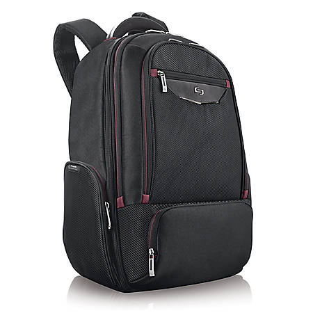 Solo® Executive Laptop Backpack, Black/Red