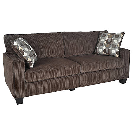 "Serta® RTA San Paolo Collection Fabric Sofa, 35""H x 78""W x 32 1/2""D, Mink Brown"