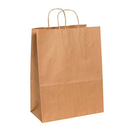 "Partners Brand Paper Shopping Bags, 17""H x 13""W x 7""D, Kraft, Case Of 250"