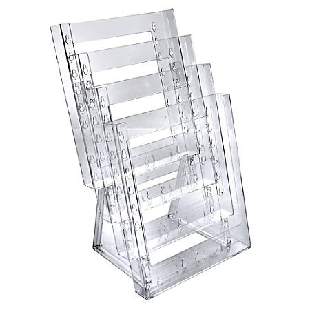 "Azar Displays 4-Pocket Crystal Styrene Tiered Modular Brochure Holders, 16 1/2""H x 9""W x 7 1/2""D, Clear, Pack Of 2"