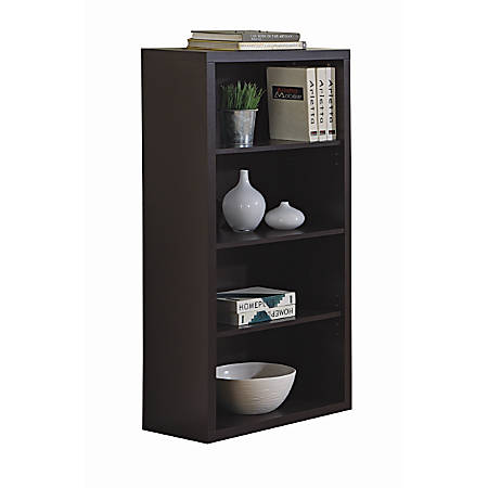Monarch Specialties 3-Shelf Bookcase, Cappuccino