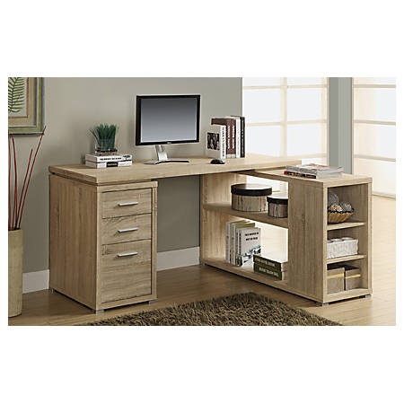 Monarch Specialties L-Shaped Computer Desk With Storage, Natural