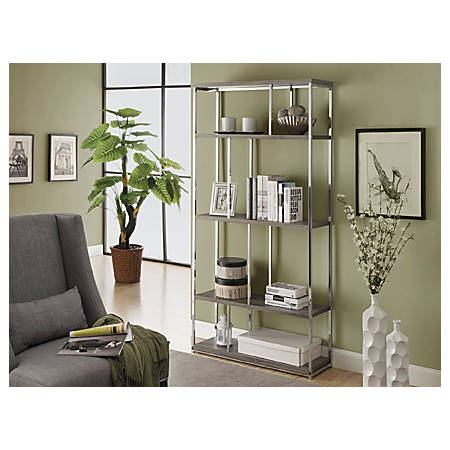 Monarch Specialties 4-Shelf Bookcase With Chrome Metal, Dark Taupe