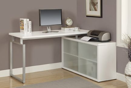 monarch specialties l shaped computer desk with frosted glass