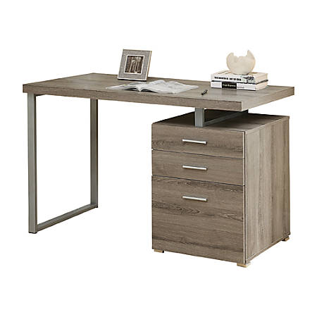 Monarch Specialties Floating Top Computer Desk With 3 Drawers, Dark Taupe