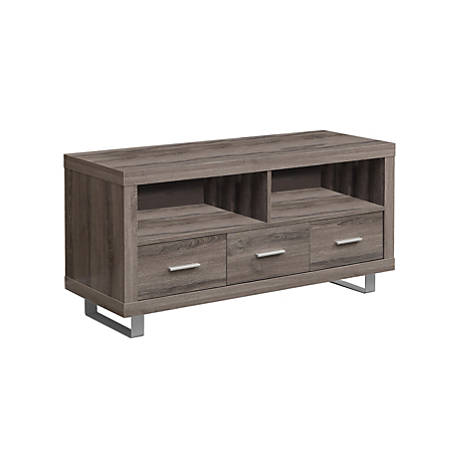 "Monarch Specialties Open Shelf TV Stand, For Flat-Panel TVs Up To 48"", Dark Taupe"