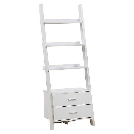 Monarch Specialties 4-Shelf Ladder Bookcase With 2 Drawers, White