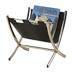 Monarch Specialties Faux LeatherChrome Magazine Rack