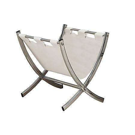 Monarch Specialties Faux Leather/Chrome Magazine Rack, White