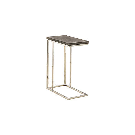 Monarch Specialties Hollow-Core Accent Table With Chrome Base, Rectangle, Dark Taupe