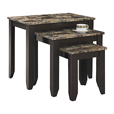 Monarch Specialties 3-Piece Marble-Top Nesting Table Set, Cappuccino/Marble