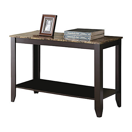 Monarch Specialties Marble Top Console Table, Rectangle, Cappuccino