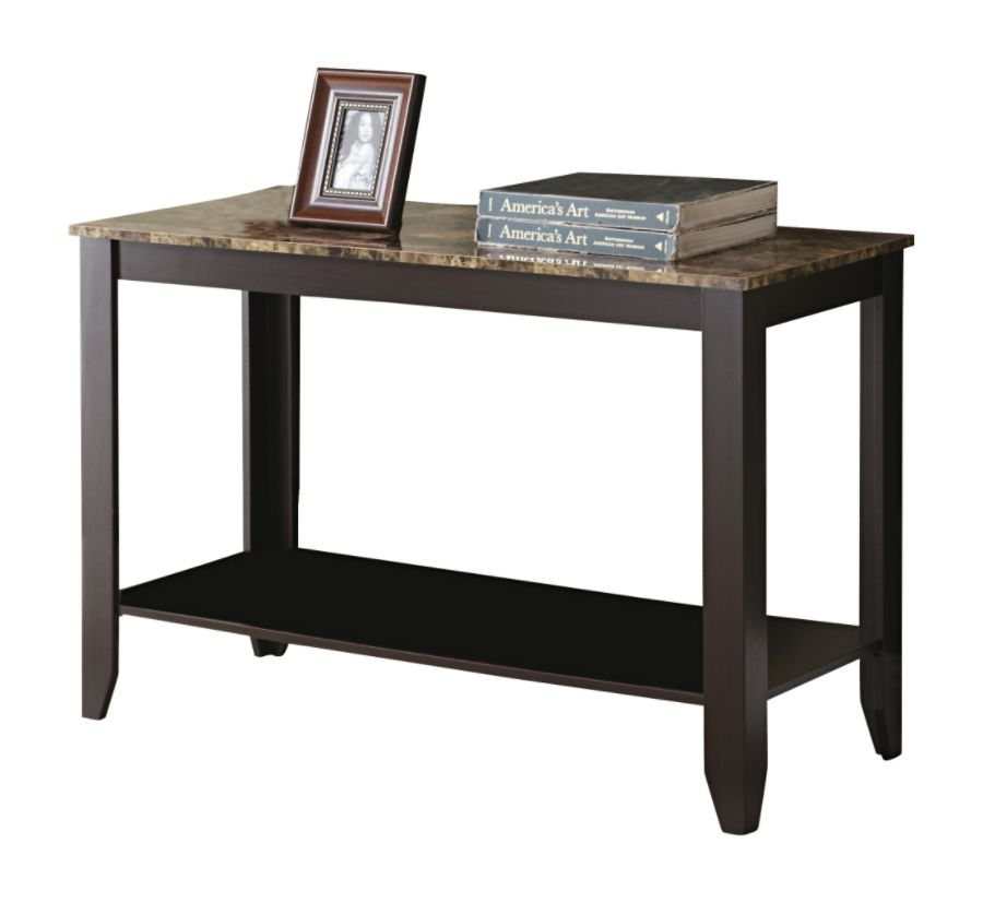 Monarch Specialties Marble Top Console Table Rectangle Cappuccino By