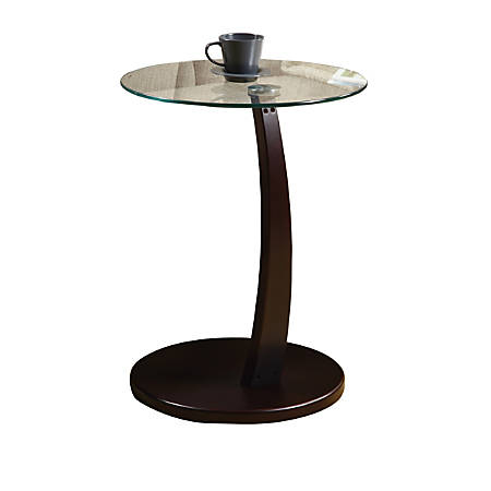 Monarch Specialties Glass-Top Accent Table, Round, Cappuccino