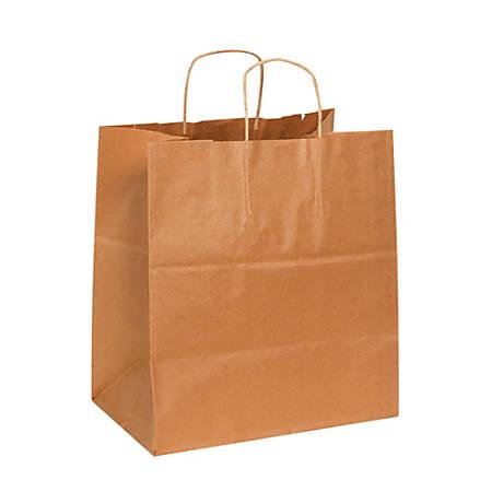 "Partners Brand Paper Shopping Bags, 15 1/2""H x 14""W x 10""D, Kraft, Case Of 200"