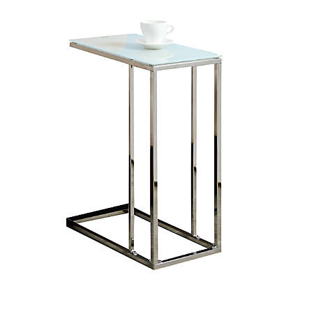 Monarch Specialties Accent Table With Tempered Glass Top, Chrome/Opaque White
