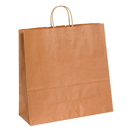"Partners Brand Paper Shopping Bags, 15 3/4""H x 16""W x 6""D, Kraft, Case Of 200"