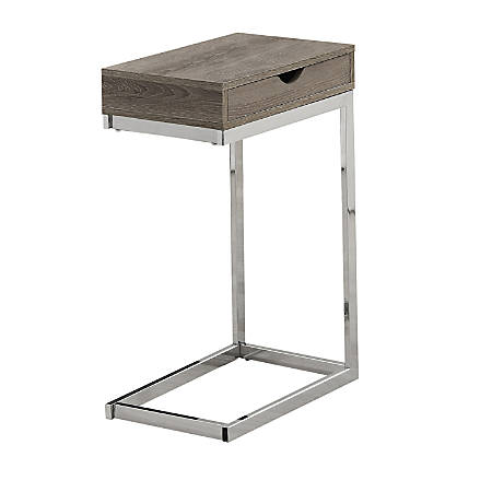 Monarch Specialties Accent Table With Side Drawer, Dark Taupe/Chrome