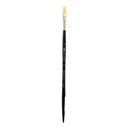 Winsor & Newton Artists' Oil Paint Brush, Size 4, Flat Bristle, Hog Hair, Black