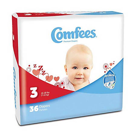 Attends® Comfees® Baby Diapers, Size 3, White, Pack Of 36