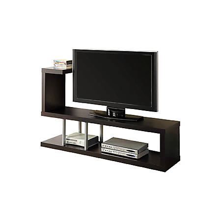 "Monarch Specialties Hollow-Core TV Stand, For Flat-Panel TVs Up To 47"", Cappuccino"