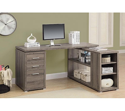 Monarch Specialties L Shaped Computer Desk With Book Shelf Dark Taupe By Office Depot Officemax