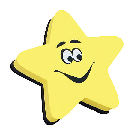 "Ashley Productions Magnetic Whiteboard Erasers, 3 3/4"", Star, Pack Of 6"
