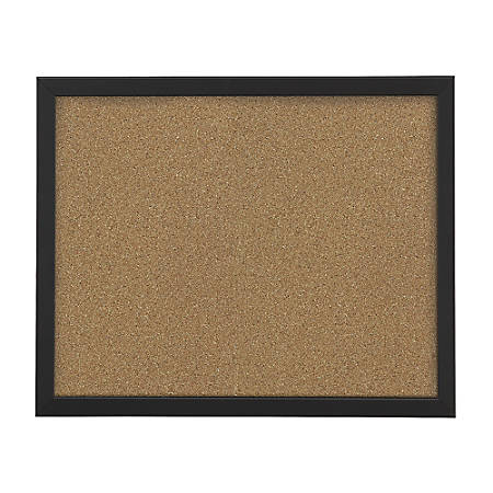 "FORAY™ Cork Board, 18"" x 24"", Tan Cork, Black Décor Frame"