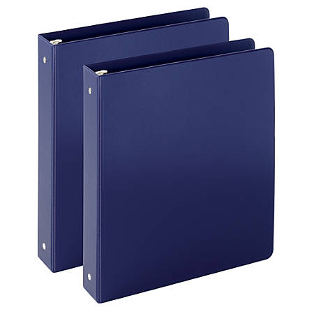 "Just Basics Economy Reference Binder 1 1/2"" Rings, Blue, 64% Recycled, Pack Of 2 Binders"