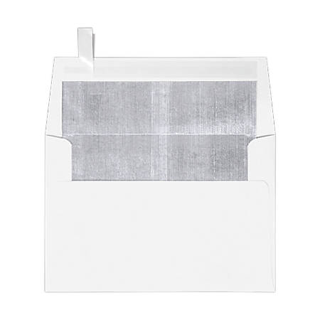 "LUX Foil-Lined Invitation Envelopes With Peel & Press Closure, A4, 4 1/4"" x 6 1/4"", White/Silver, Pack Of 50"