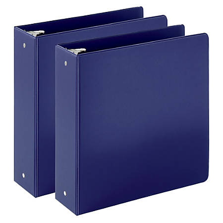 "Just Basics Economy Reference Binder, 3"" Rings, Blue, 64% Recycled, Pack Of 2 Binders"