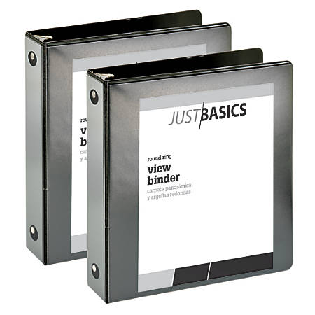 "Just Basics Economy Round-Ring View Binders, 2"" Rings, 61% Recycled, Black, Pack Of 2 Binders"